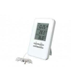 Termometru digital si ceas TE09 afișaj mare alb