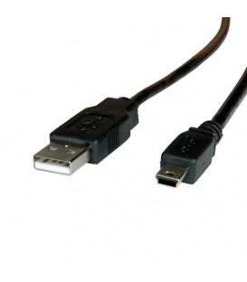 Cablu USB 2.0 USB A mufă, USB B mini mufă nichelat 1m negru AK-300130-010-S