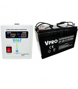 Pachet UPS VOLT Polska SInus PRO 800 VA 500Wsi Baterie 100Ah AGM GEL Sinus800+VP100Ah