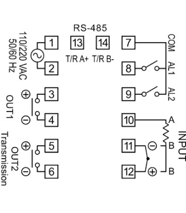 Temperature controller (48x48) 100-240VAC input 4-20mA AT503-4141000