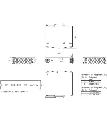 Alimentator:comutare,pe şină DIN 75W 24V SDR-75-24