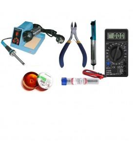 Statie lipit ZD99 Multimetru DT830 si accesorii Pompa cositor Sfic colofoniu (sacaz) Fludor ZD99+accesorii