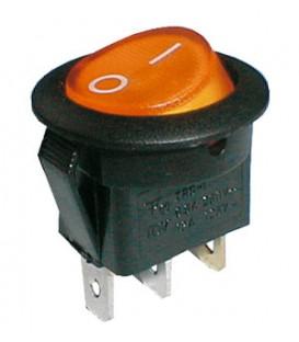 Comutator basculant 2pol./3pin ON-OFF 250V / 6A (rotunjit) - galben transparent