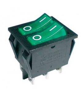 Comutator basculant 2x (2pol./3pin) ON-OFF 250V / 15A - verde transparent