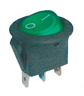 Comutator basculant 2pol./3pin ON-OFF 16A / 12VDC (rotunjit) - verde transparent