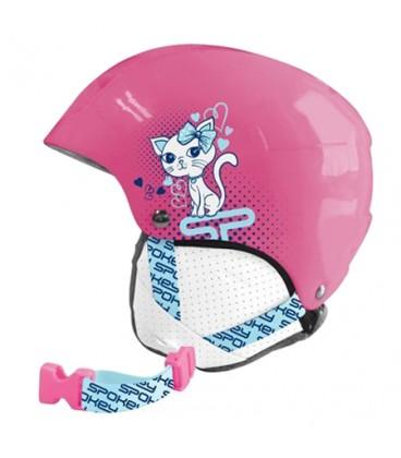 Casca de schi SPOKEY AURORA copii roz cu pisica marime XS