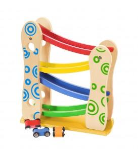 Pistă de tobogan din lemn + 3 mașini de jucărie Ecotoys
