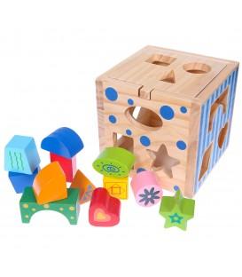 Sortare din lemn, cub educațional + blocuri Ecotoys