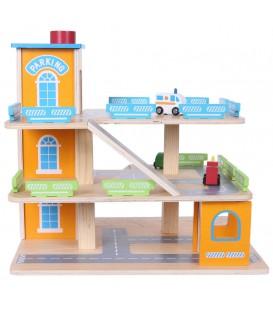 Garaj din lemn, pistă cu lift + mașini Ecotoys