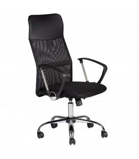Scaun pivotant de birou, picioare cromate, spătar înalt