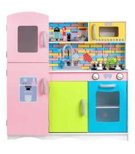 Bucătărie colorată din lemn cu echipament Ecotoys