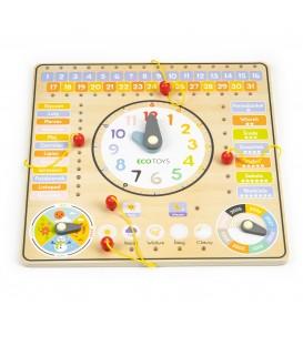 Calendar de ceas bord de manipulare din lemn