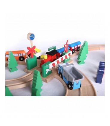 Linie de tren din lemn 75 buc EcoToys