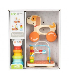 Jucărie educativă din lemn, set de 3 jucării