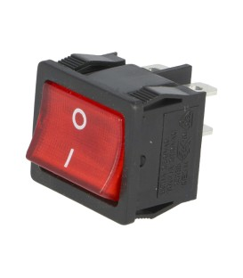 ROCKER DPST Poz: 2 OFF-ON 6A/250VAC roşie lampă cu neon 250V