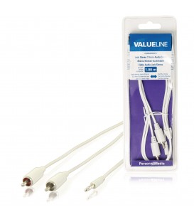 Cablu audio Valueline, jack stereo 3.5 mm tata 2 x RCA tata, 1 m, alb