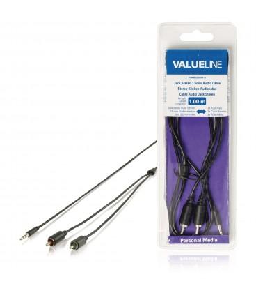 Cablu audio Valueline, jack stereo 3.5 mm tata 2 x RCA tata, 1 m, negru