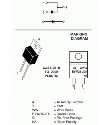 Diodă: redresoare 200V 8A 100A TO220AC 25ns