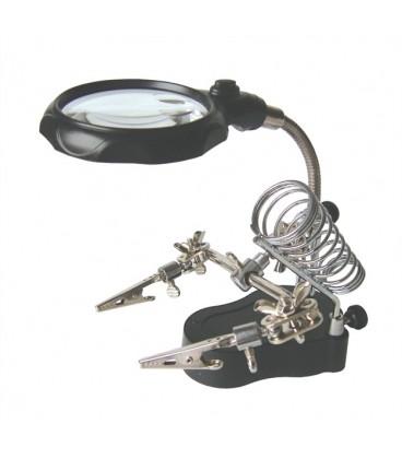 Mana de ajutor cu lupa - Lupa marire cu iluminare 2x LED cu stand de lipit ZD-126-2 MG16126-A