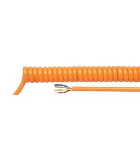 Cablu: spiralat 3x0,75mm2 PUR portocalie 300/500V 0,5m 2m HELUKABEL-85240