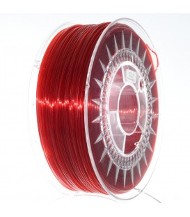 Filament: PET-G roşu (rubiniu), transparentă 1kg ±0,5% 1,75mm DEV-PETG-1.75-RRT