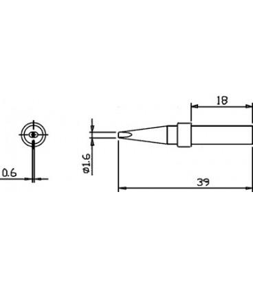 Vârf letcon statie lipit Pensol tip şurubelniţă 1,6mm SR-624